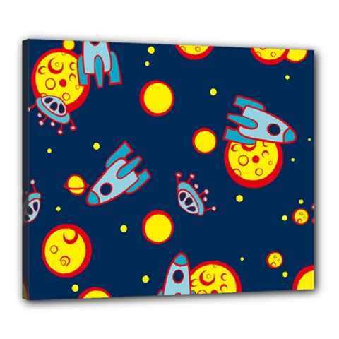 Rocket Ufo Moon Star Space Planet Blue Circle Canvas 24  X 20  by Mariart