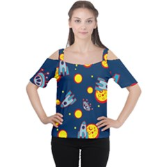 Rocket Ufo Moon Star Space Planet Blue Circle Women s Cutout Shoulder Tee by Mariart
