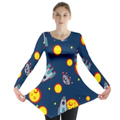 Rocket Ufo Moon Star Space Planet Blue Circle Long Sleeve Tunic  by Mariart