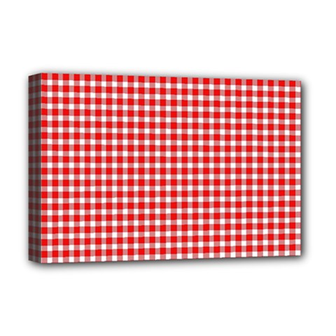 Plaid Red White Line Deluxe Canvas 18  X 12   by Mariart