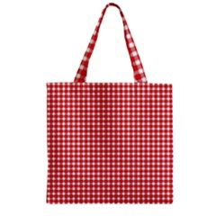 Plaid Red White Line Zipper Grocery Tote Bag by Mariart