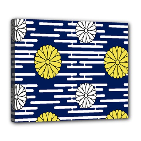 Sunflower Line Blue Yellpw Deluxe Canvas 24  X 20   by Mariart