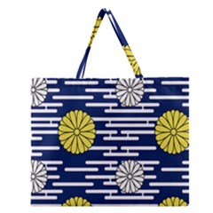 Sunflower Line Blue Yellpw Zipper Large Tote Bag by Mariart