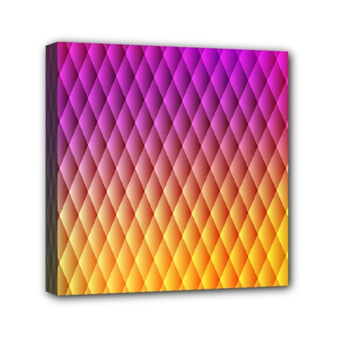 Triangle Plaid Chevron Wave Pink Purple Yellow Rainbow Mini Canvas 6  X 6  by Mariart