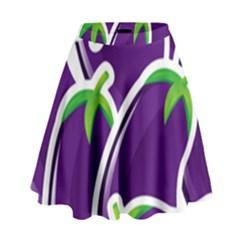 Vegetable Eggplant Purple Green High Waist Skirt by Mariart