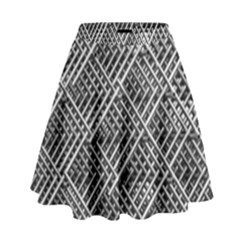 Pattern Metal Pipes Grid High Waist Skirt by Nexatart