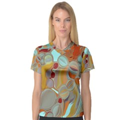 Liquid Bubbles Women s V Neck Sport Mesh Tee by theunrulyartist