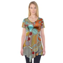 Liquid Bubbles Short Sleeve Tunic  by theunrulyartist