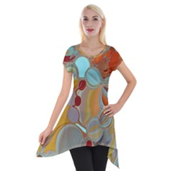 Liquid Bubbles Short Sleeve Side Drop Tunic by theunrulyartist