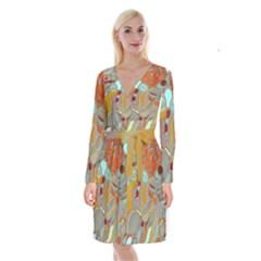 Liquid Bubbles Long Sleeve Velvet Front Wrap Dress by theunrulyartist