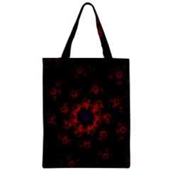 Fractal Abstract Blossom Bloom Red Zipper Classic Tote Bag by Nexatart