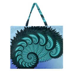 Fractals Texture Abstract Zipper Large Tote Bag by Nexatart
