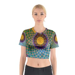 Temple Abstract Ceiling Chinese Cotton Crop Top by Nexatart