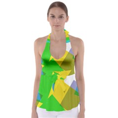 Green yellow shapes            Babydoll Tankini Top