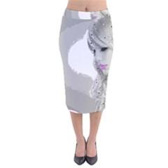 Angel Velvet Midi Pencil Skirt by mugebasakart