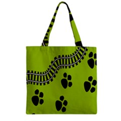 Green Prints Next To Track Zipper Grocery Tote Bag by Nexatart