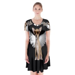 Angel Chihuahua Short Sleeve V Neck Flare Dress by Valentinaart