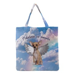 Angel Chihuahua Grocery Tote Bag by Valentinaart