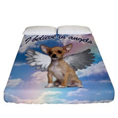 Angel Chihuahua Fitted Sheet (california King Size) by Valentinaart