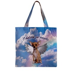 Angel Chihuahua Zipper Grocery Tote Bag by Valentinaart