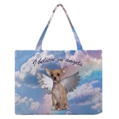 Angel Chihuahua Medium Zipper Tote Bag by Valentinaart