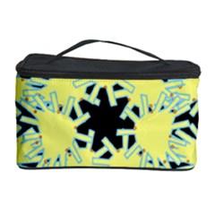 Yellow Snowflake Icon Graphic On Black Background Cosmetic Storage Case by Nexatart