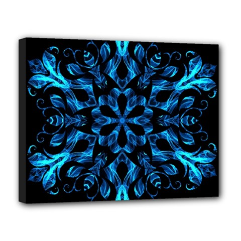 Blue Snowflake On Black Background Canvas 14  X 11  by Nexatart