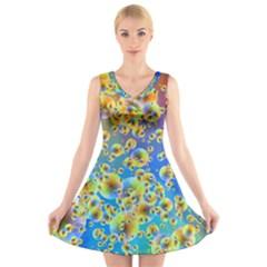 Color Particle Background V-Neck Sleeveless Skater Dress