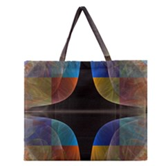 Black Cross With Color Map Fractal Image Of Black Cross With Color Map Zipper Large Tote Bag by Nexatart