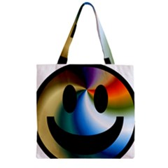 Simple Smiley In Color Zipper Grocery Tote Bag by Nexatart