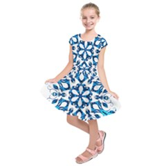 Blue Snowflake On Black Background Kids  Short Sleeve Dress