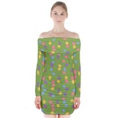Balloon Grass Party Green Purple Long Sleeve Off Shoulder Dress by Nexatart
