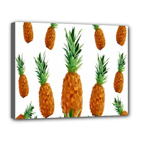Pineapple Print Polygonal Pattern Canvas 14  X 11  by Nexatart