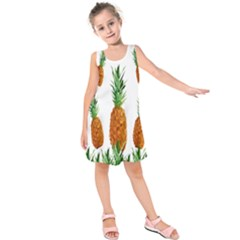 Pineapple Print Polygonal Pattern Kids  Sleeveless Dress