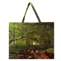 Red Deer Deer Roe Deer Antler Zipper Large Tote Bag by Nexatart