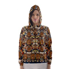 Lady Panda Goes Into The Starry Gothic Night Hooded Wind Breaker (Women) by pepitasart