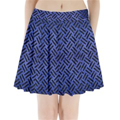 Woven2 Black Marble & Blue Brushed Metal (r) Pleated Mini Skirt by trendistuff