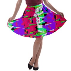 Colorful Glitch Pattern Design A Line Skater Skirt by dflcprintsclothing