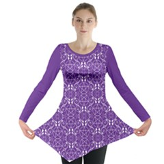 Purple With White Pagan Pentacles Wiccan Long Sleeve Tunic  by cheekywitch
