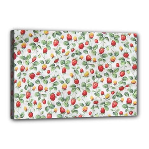 Strawberry Pattern Canvas 18  X 12  by Valentinaart