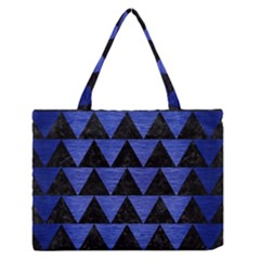 Triangle2 Black Marble & Blue Brushed Metal Medium Zipper Tote Bag by trendistuff