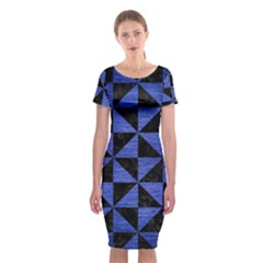 Triangle1 Black Marble & Blue Brushed Metal Classic Short Sleeve Midi Dress by trendistuff