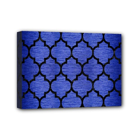 Tile1 Black Marble & Blue Brushed Metal (r) Mini Canvas 7  X 5  (stretched) by trendistuff