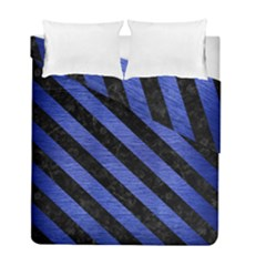 Stripes3 Black Marble & Blue Brushed Metal (r) Duvet Cover Double Side (full/ Double Size) by trendistuff