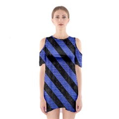 Stripes3 Black Marble & Blue Brushed Metal (r) Shoulder Cutout One Piece by trendistuff