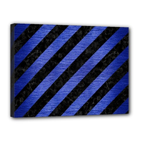 Stripes3 Black Marble & Blue Brushed Metal Canvas 16  X 12  (stretched) by trendistuff