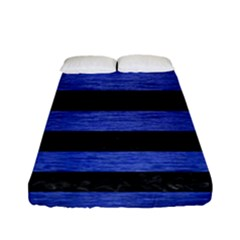 Stripes2 Black Marble & Blue Brushed Metal Fitted Sheet (full/ Double Size) by trendistuff