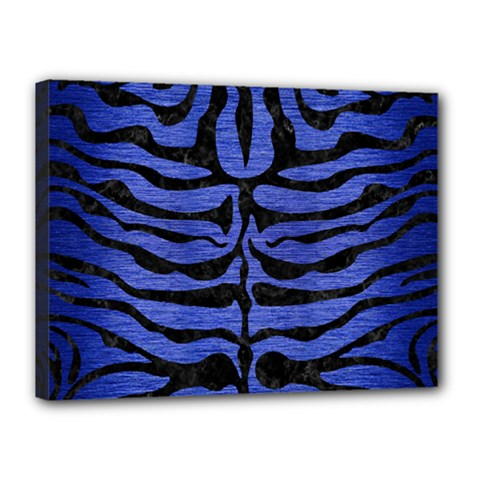 Skin2 Black Marble & Blue Brushed Metal (r) Canvas 16  X 12  (stretched) by trendistuff
