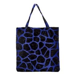 Skin1 Black Marble & Blue Brushed Metal (r) Grocery Tote Bag by trendistuff