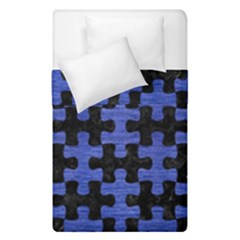 Puzzle1 Black Marble & Blue Brushed Metal Duvet Cover Double Side (single Size) by trendistuff
